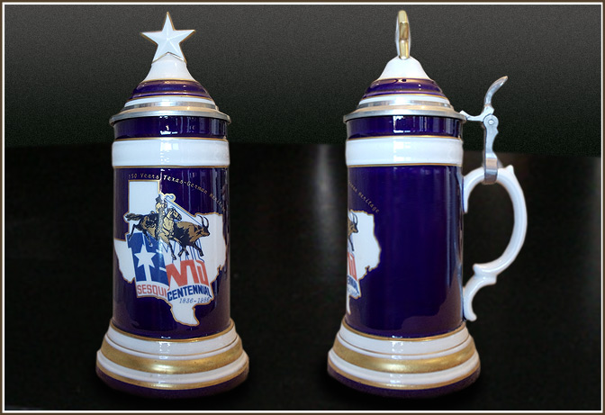 Blue Texas Sesquicentennial Capped Steins