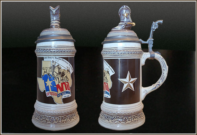 Boot & Gun Texas Sesquicentennial Capped Steins