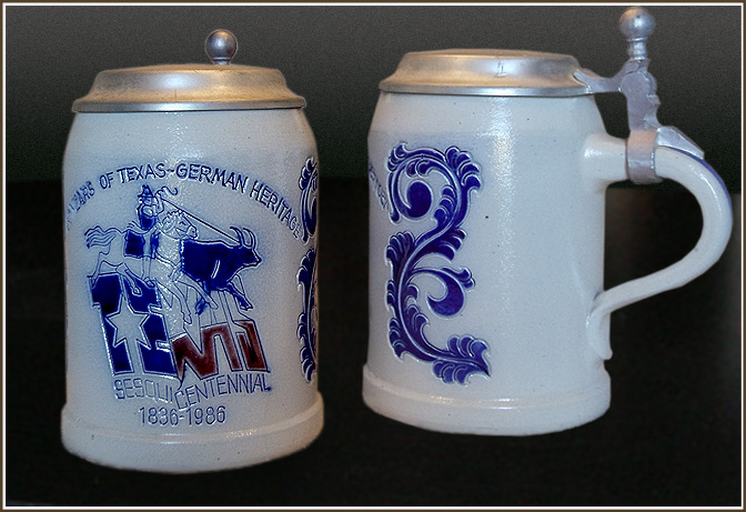 Gray Texas Sesquicentennial Capped Steins