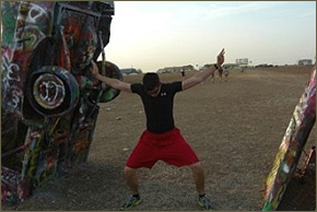 German Student at the Cadillac Ranch in Amarillo